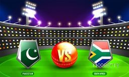 Pakistan Vs South Africa Cricket Match Concept with their Countries Flag Shields shining in stadium lights.