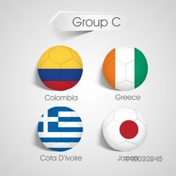 Group C Team Colombia, Greece, Cote d'ivoire and Japan countries flags on soccer balls.