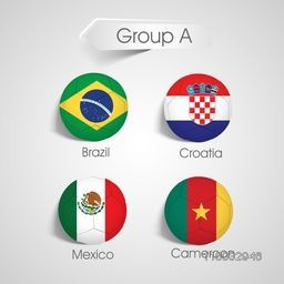 Group A Team Brazil, Croatia, Mexico and Cameroon countries flags in soccer ball shape on grey background.