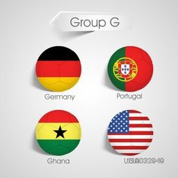 Group G Team Germany, Portugal, Ghana and U.S.A countries flags for Soccer on grey background.