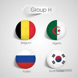 Group H Team Belgium, Algeria, Russia and South Korea countries flags for Soccer Competition in Brazil.