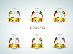 Group G Team Germany, Portugal, Ghana and U.S.A countries flags for Soccer Competition in Brazil.