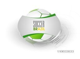 Shiny soccer ball on grey background for Brazil event, can be used as poster, banner or flyer design.