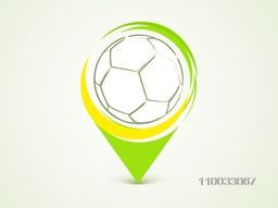 Shiny soccer ball in a navigation pointer for Soccer Championship.