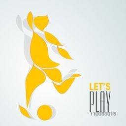 Creative Illustration of a player trying to kick soccer ball on blue background with stylish text Let's Play.