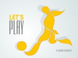 Creative illustration of a player trying to kick the soccer ball with stylish text Let's Play on sky blue background.