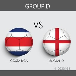 Group-D, Soccer match between Costa Rica and England countries flags on grey background for Soccer Competition.