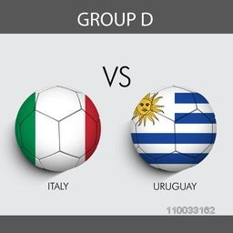 Group D Match Italy v/s Uruguay countries flags on grey background for Soccer Competition.