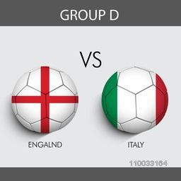 Group-D, Soccer match between England and Italy countries flags on grey background for Soccer Competition.