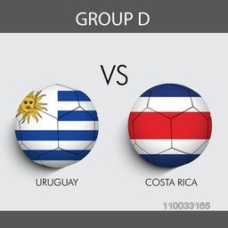 Group D match schedule with participants countries Uruguay v/s Costa Rica flags on grey background for Soccer Competition.