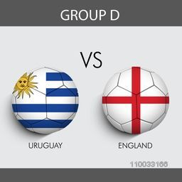 Group D participants, Uruguay v/s England countries flag on grey background for Soccer Competition.