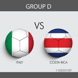 Group D match schedule with participants countries Italy v/s Costa Rica flags on grey background for Soccer Competition.
