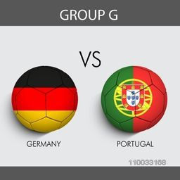 Group G match schedule with participants countries Germany v/s Portugal flags on grey background for Soccer Competition.