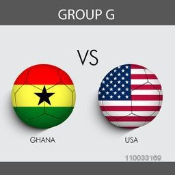 Group G participants, Ghana v/s U.S.A countries flag on grey background for Soccer Competition.