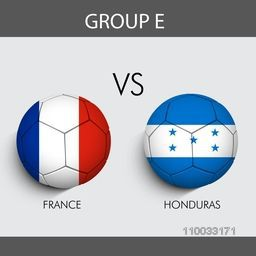 Group E match schedule with participants countries France v/s Honduras flags on grey background for Soccer Competition.