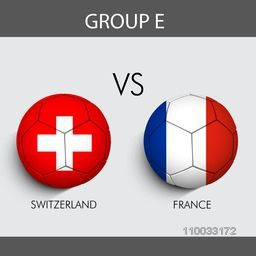 Group E participants, Switzerland v/s France countries flag on grey background for Soccer Competition.