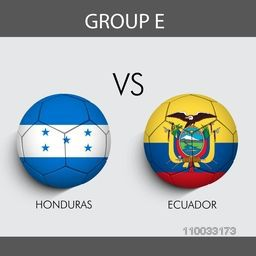 Group E match schedule with participants countries Honduras v/s Ecuador flags on grey background for Soccer Competition.