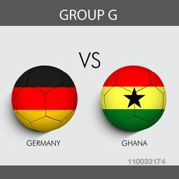 Group G match schedule with participants countries Germany v/s Ghana flags on grey background for Soccer Competition.