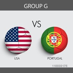 Group G match schedule with participants countries U.S.A v/s Portugal flags on grey background for Soccer Competition.