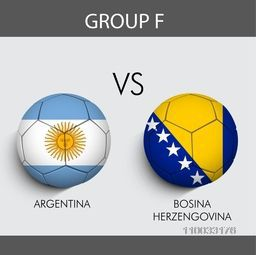 Group F match schedule with participants countries Argentina v/s Bosina flags on grey background for Soccer Competition.