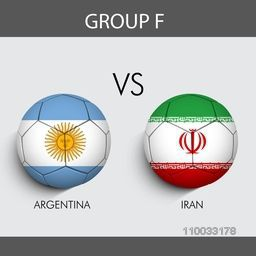 Group F match schedule with participants countries Argentina v/s Iran flags on grey background for Soccer Competition.