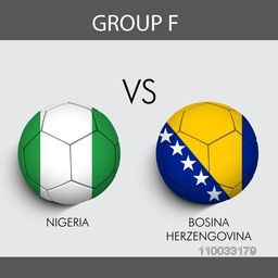 Group F participants, Nigeria v/s Bosina countries flag on grey background for Soccer Competition.