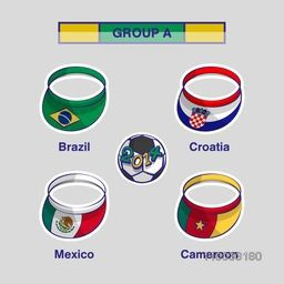Group A Team Brazil, Croatia, Mexico and Cameroon countries flags on cap for Soccer Competition on grey background.