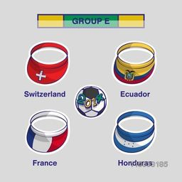 List of Group F participating countries Switzerland, Ecuador, France and Honduras flags on grey background for Soccer Competition.