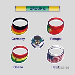 Group G Team Germany, Portugal, Ghana and U.S.A countries flags for Soccer Competition on grey background.