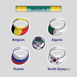Group H match schedule list with illustration of participating countries Belgium, Algeria, Russia, and South Korea flags on caps for Soccer Competition.
