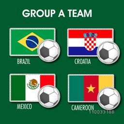 Group A Team Brazil, Croatia, Mexico and Cameroon countries flags for Soccer Competition in Brazil.