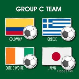 Flags of Group C teams, Colombia, Greece, Cote d' ivoire and Japan on green background for Soccer Competition.