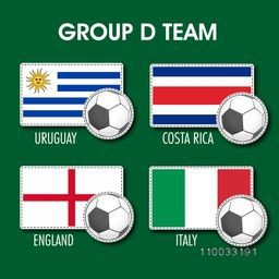 List of Group D teams flags on grey background for Soccer Competition.