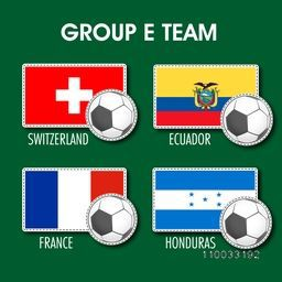 Group E Team Switzerland, Ecuador, France and Honduras countries flags for Soccer Competition on green background.