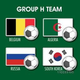 List of Group H teams flags on grey background for Soccer Competition.