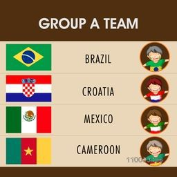 Group A Teams Brazil, Croatia, Mexico and Cameroon countries flags with little kids for Soccer Competition.