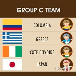Group- C teams list with illustrattion of little boys in participating countries flag dress for Soccer Competition.