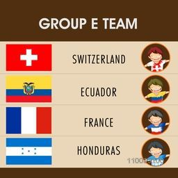 Soccer match, Group-E teams schedule with participating countries names and cute boys in flag color dress.
