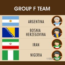 Group F Teams Argentina, Bosnia, Iran and Nigeria countries flags for Soccer Competition.