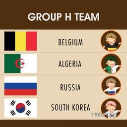 Group- H teams list with illustration of little boys in participating countries flag dress for Soccer Competition.