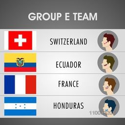 Soccer match schedule of Group E Teams with illustration of participating countries Switzerland, Ecuador, France and Honduras flags on grey background.