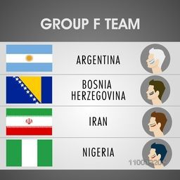Group F Team Argentina, Bosnia, Iran and Nigeria countries flags with soccer players for Soccer Competition in Brazil.