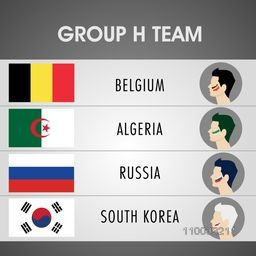 Match schedule of Group H Teams with illustration of participating countries Belgium, Algeria, Russia and South Korea flags with players face for Soccer Competition.