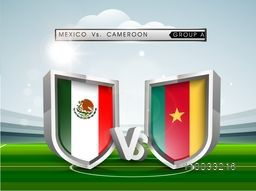 Glossy shields with flags of Mexico and Cameroon countries on cloudy stadium background, Group-A match schedule for Soccer Competition.
