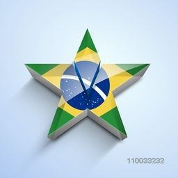 Brazil country flag in shape of glossy 3D star on shiny sky blue background for Soccer Championship.