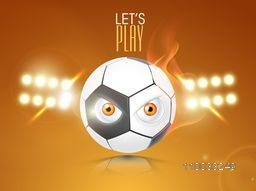 Illustration of shiny soccer ball with eyes in stadium lights at night on glossy brown background.