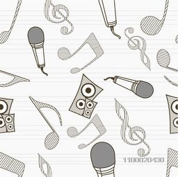 Musical seamless pattern wallpaper with musical instrument and musical notes.