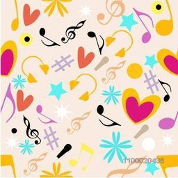 Musical seamless pattern with musical notes and instrument.