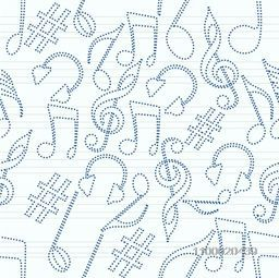Musical seamless pattern with musical notes and musical instrument.