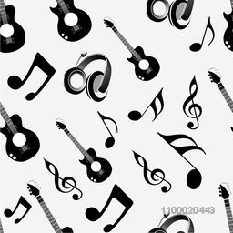 Musical instrument and notes with seamless pattern.